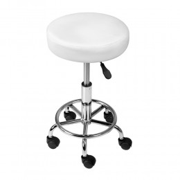 Round PU Swivel Salon Stool White