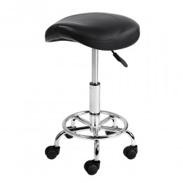 Saddle Stool PU Swivel Salon Hairdresser Stools Black