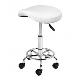 Saddle Stool PU Swivel Salon Hairdresser Stools White