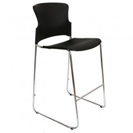 Adam Stool, Focus Stool- Plastic Sled Base Stacking Cafe Bar Visitor Stools - Opal 300