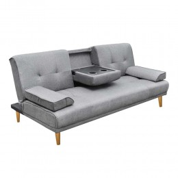 3 Seater Linen Fabric Sofa Bed with 2 Cup Holder