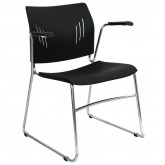 Win Arm Chair, - Plastic Sled Base Arms Stacking Conference Visitor Chairs