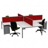 Cubit 4 Way Pod Workstation Office Desks with Screens