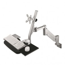 Height Adjustable Single Monitor Arm with Keyboard and Mouse Support