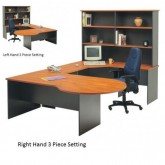 Origo P Desk Office Executive setting with Corner & Hutch