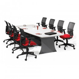 Origo Boat Shaped Boardroom Meeting Table - White & Ironstone