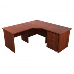 Origo Corner Desk Workstation - Dark Cherry - 1500mm