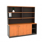 Origo Sliding Door Credenza with Hutch Storage Shelving
