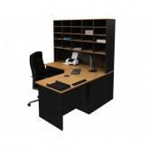 Corner Office Desk & Pigeon Hole Hutch