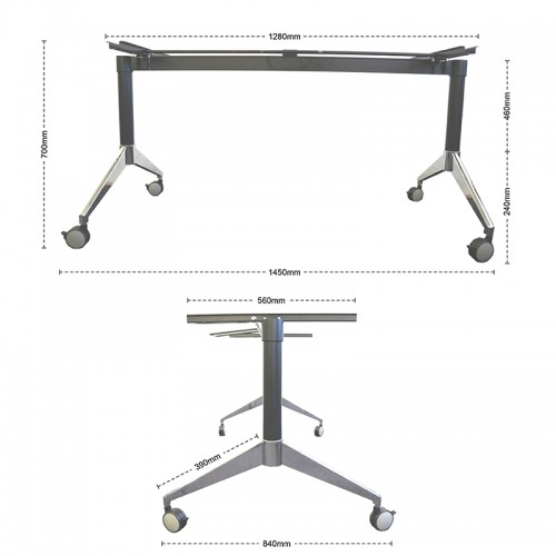 Alexis FlipFold Training Table Base Frame Only - Training table dimensions