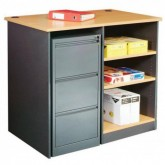 Utility Counter Desk with Storage Shelving