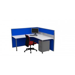 System 50 2000 Single Pod Corner Workstation Desk & Ducted Screen Systems Furniture