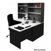 Corner Office Desk Workstation with Hutch - White & Ironstone