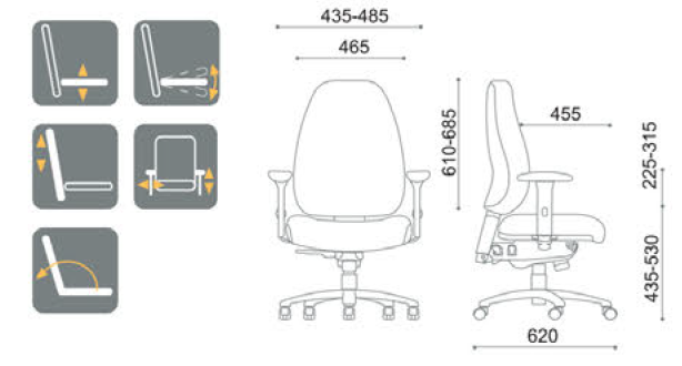 Stella Mid High Back Ergonomic Office Chair 160kg Weight Rated