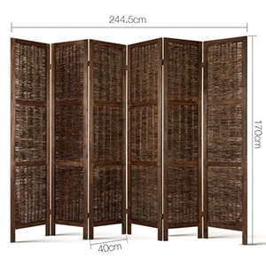 6 Panel Foldable Wooden Room Divider Brown Partition Screens For