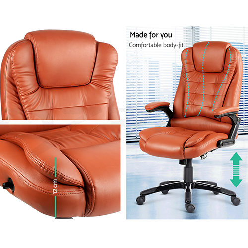 8 point pu leather heated massage executive office chair amber for