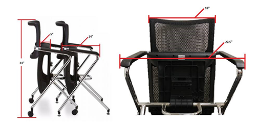 X chair multiple stacking dimensions